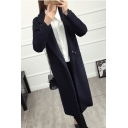 Longline Long Sleeve Notched Lapel Collar Plain Single Button Navy Woolen Coat
