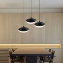 Oval Shaped Pendant Hanging Lamp Contemporary LED Hanging Lights in Black/White 8