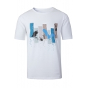 Men's White Round Neck Short Sleeve Fashion Printed Fitted Cotton T-Shirt