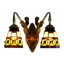 Tiffany Style Dome Wall Lamp Brown Glass 2 Lights Wall Light Fixture with Mermaid
