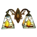 2 Light Sailboat Design Wall Lamp Tiffany Nautical Stained Glass Lighting Fixture in Blue