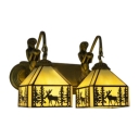 Double Heads Elk Wall Light Sconce Lodge Beige Glass Accent Lighting Fixture with Mermaid