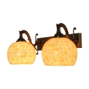 Mosaic Style Sconce Lighting Tiffany Style Modern Shell 2 Heads Wall Lamp with Curved Arm