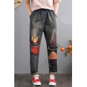 Retro Cartoon Patched Embroidered Elastic Drawstring Waist Blue Jeans for Girls