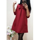 Popular Burgundy Plain Bow Embellished Round Neck Half Sleeve Mini Dress