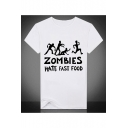 White Cartoon ZOMBIES Graphic Print Round Neck Short Sleeves Casual Tee