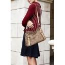 Brown Faux Fur Beaded Strap Zippered Ladies' Single Shoulder Bag
