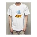 Fashion Fish Pattern Short Sleeve Crew Neck Summer T-Shirt