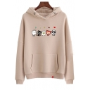 Cartoon Cat Printed Long Sleeve Leisure Chic Thick Hoodie