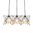Beige/Blue Dome Suspended Lamp Tiffany Style Glass Triple Pendant Light with Metal Frame