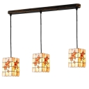 Shelly Rectangle Suspended Light Tiffany Style Triple Head Ceiling Pendant Lamp in Beige