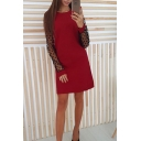 Lace Patched Sheer Long Sleeve Round Neck Plain Sheath Mini Dress