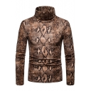 Men's Fashion Brown Snake Print High Neck Long Sleeve Slim Fit Tee
