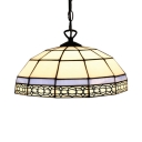 1 Head Dome Drop Light Tiffany Style Stained Glass Ceiling Pendant Lamp in Blue/Green