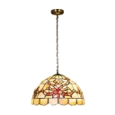 Beige Floral Shelly Suspension Light Tiffany Style Stained Glass Triple Head Lighting Fixture