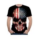 Colorblock Star Flag Skull Printed Short Sleeve Round Neck Black Tee