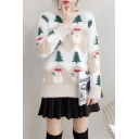 Round Neck Long Sleeve Snowman Tree Printed Leisure Mohair Sweater