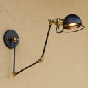 Brass Finish Semicircle Wall Lighting Vintage Iron 1 Light Wall Light Sconce for Library