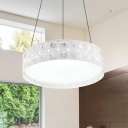 Etched Design Drum Shaped LED Pendant Light Contemporary Style White Finish Metal and Acrylic Hanging Lamp