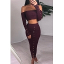 Sexy Long Sleeve Off The Should Cropped Top Midi Pencil Skirts Rivets Embellished Co-ords