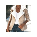 Contrast Notched Lapel Collar Long Sleeve Zip Front Classic Corduroy Jacket