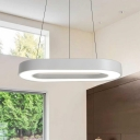 Hollow Oval Shaped Acrylic Pendant Lamp Contemporary White Finish Office LED Lighting