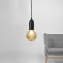 G9 Glass Ball Shade Pendant Modern Simple Style Black Finish 1-Light Hanging Fixture for Restaurant Counter
