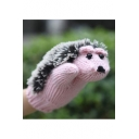 Winter's New Fashion Colorblock Cute Animal Hedgehog Printed Knit Gloves