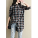Classic Check Pattern Pocket Chest Lapel Collar Long Sleeve Round Hem Button Relaxed Shirt