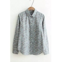 New Fashion Floral Printed Lapel Collar Long Sleeve Loose Casual Button Down Shirt