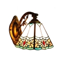 Floral Wall Sconce Tiffany Style Stained Glass Wall Light in Multicolor for Bungalow Corridor