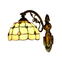 Dome Wall Sconce Tiffany Style Stained Glass Wall Light in Antique Brass for Bedroom