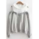 Hot Fashion Color Block Cold Shoulder Long Sleeve Casual Hoodie