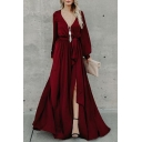 Lantern Long Sleeve V Neck Plain Tie Waist Split Front Maxi Party Dress