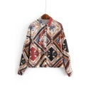 Lapel Collar Long Sleeve Geometric Tribal Printed Button Down Red Shirt
