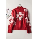 New Arrival Long Sleeve Mock Neck Snowflake Printed Knit Sweater