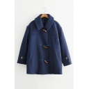 Fresh Long Sleeve Lapel Collar Toggle Tunics Warm Plain Woolen Coat