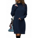 Stylish Long Sleeve High Neck Plain Mini Shift Dress