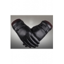 Winter Warm Knit Cuff PU Faux Leather Touchscreen Black Driving Gloves