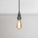 Bare Bulb Hanging Lamp Retro Style Vintage Weathered Steel Suspended Light for Bedside Staircase