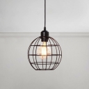 Globe Style Cage Shade Pendant Lamp Industrial Country Style Iron Suspended Light in Black