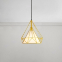 Adjustable Diamond Pendant Lamp Industrial Fabric Hanging Light in Yellow with Metal Frame