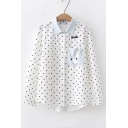 Lovely Cartoon Cat Embroidered Pocket Chest Polka Dot Printed Lapel Collar Long Sleeve White Shirt