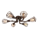 Antique Brass 6 Light Wire Guard LED Semi Flush Ceiling Light