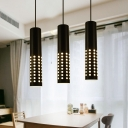 Perforated Cylindrical LED Pendant Light Contemporary Metal 1-Light Track Lighting in Black