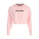 Fashion Letter Pattern Long Sleeve Street Style Pink Cropped Hoodie