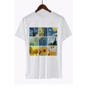 New Trendy Van Gogh Oil Painting Printed Short Sleeve Round Neck White T-Shirt