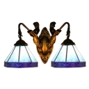2 Heads Geometric Wall Sconce Tiffany Style Beige/Blue Glass Lighting Fixture with Mermaid