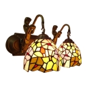 Stained Glass Dome Wall Light Fixture Tiffany Country Style Double Heads Wall Lamp