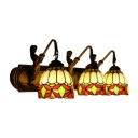 Dome Wall Light Fixture Tiffany Style Glass 3 LED Accent Wall Mount Fixture in Multi Color